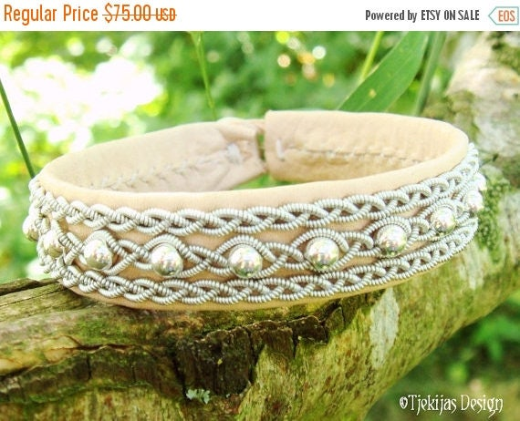 Swedish Sami Bracelet YDUN Nordic Arctic Natural Leather Cuff Bracelet with Sterling Silver Beads, Pewter Braids and Antler Button Handmade