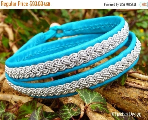 Viking Leather Wrap Bracelet ASGARD Handmade Women and Men's Wristband in Turquoise Reindeer with Pewter Braid and Antler Closure