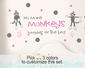 No More Sock Monkeys Jumping on the Bed Wall Decal, Monkey Art for Boys Nursery, Girls Playroom Decal Stickers, Baby Quote Decals