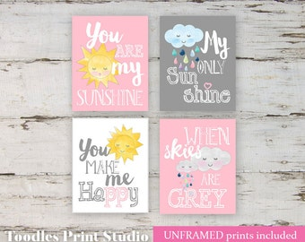 You are my Sunshine My only Sunshine Art wall Prints for Girls, 8x10 Wall Art for Baby Nursery, Sun and Clouds art
