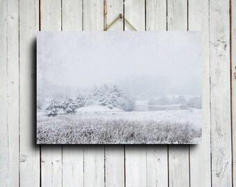 Winter Pond - Winter photography - Winter scenery - Winter pines- Snow photography - Christmas photography - Snow art - Winter art