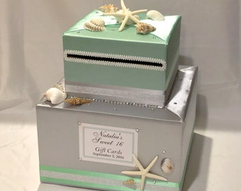 2 Tier Beach theme Card Box with Sea Shells/Starfish-any colors
