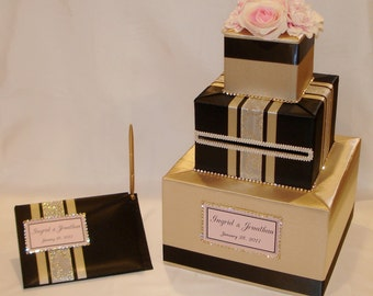 Gold and Black Card Box and matching Guest Book with Blush Pink accents