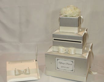 All Ivory/Cream  Wedding Card Box and Guest book set-rhinestones all over