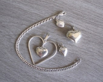 Collection of Sterling Silver Hearts and Bracelet
