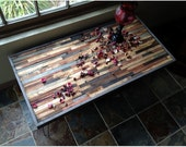 Beautiful barn wood desk in a mosaic pattern with hairpin legs
