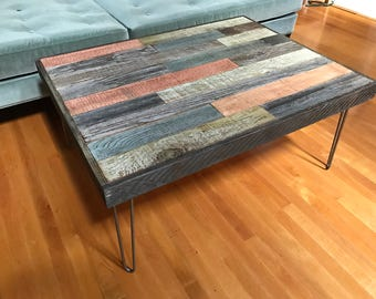 Sale! Barnwood Coffee Table with Hairpin Legs - mid century - industrial- reclaimed - upcycled - shabby chic - Beach house