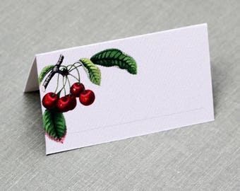 Place cards with Cherries,Cherry Place Cards, red and white, Set of 12, with or without fill-in line