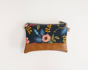 Navy floral rifle paper coin purse