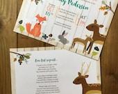 Woodland Themed Baby Shower Invitation - DIGITAL FILE