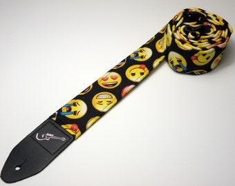 Handmade EMOJI double padded guitar strap