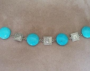Turquoise Bracelet Blue Silver Charm Bracelet with Clasp