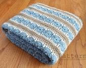 Crochet PATTERN Easy Afghan Blanket / Ocean Shore Design (5 sizes) / PDF 5436