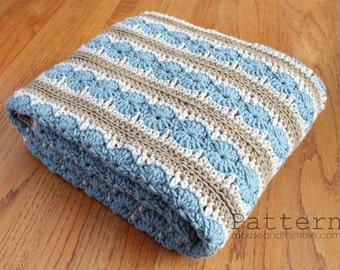 Crochet PATTERN - Easy Ocean Shore Afghan Blanket (make any size) - Printable Tutorial Download PDF 5436