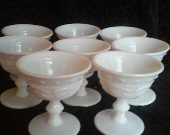 Vintage Milk Glass Compotes - Set of 8 - Wedding Decor - Instant Collection - Home Decor - Vintage Kitchen