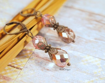 Peachy Pink Vintage Style Earrings, Czech Crystal Drop earrings, Victorian Style Dangle  Pierced or Clip-on Earrings. Handmade Earrings.