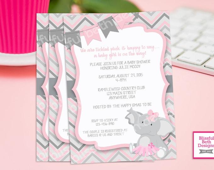PINK ELEPHANT TUTU, Elephant TuTu Baby Shower Invitation, Baby Shower Invitation, Elephant Tutu, Pink Gray Baby Girl Baby Shower Invitation