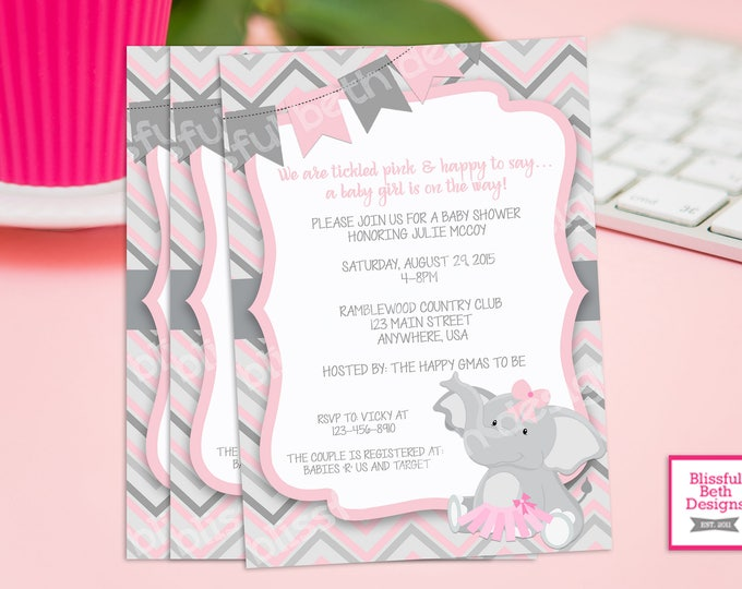 Featured listing image: PINK ELEPHANT TUTU, Elephant TuTu Baby Shower Invitation, Baby Shower Invitation, Elephant Tutu, Pink Gray Baby Girl Baby Shower Invitation