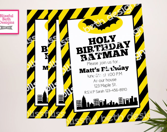 BATMAN BIRTHDAY INVITATION, Striped Batman Birthday Invitation, Printable Batman Invitation, Personalized Batman, Striped Batman