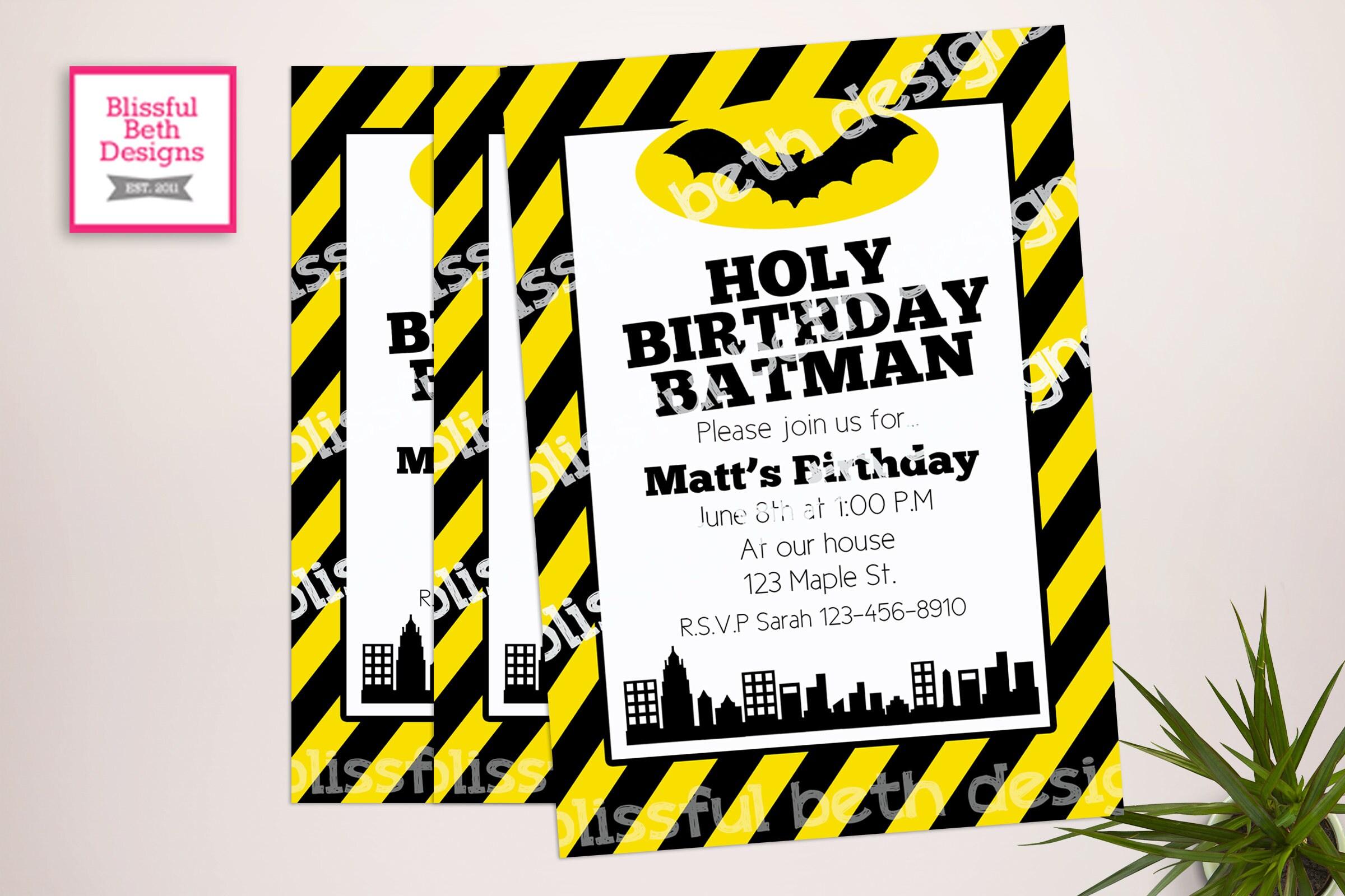 BATMAN BIRTHDAY INVITATION Striped Batman Birthday Invitation