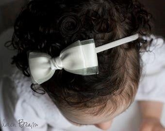 Amelia White Satin and Organza Bow Clip OR Headband - Flower Girl Headband  - Baby Bow - Girls Bow - Bun Hair Bow - Baby to Adult Headband