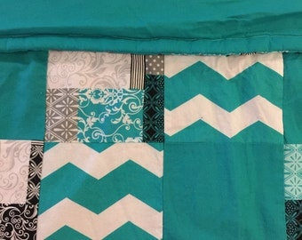 READY TO SHIP- Teal Quilt, Flowers, Quilt Pattern, Teal Chevron, Solid, Black, Lap Quilt, Warm, Crib Size, Toddler, Baby