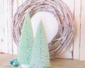 "Mint Bottlebrush Tree Set of 2 ~ 10"" & 8.5""  Hand dyed and Glittered Christmas Decor ~ Mantel ~ PutzHouse Village ~ Hand Dyed"