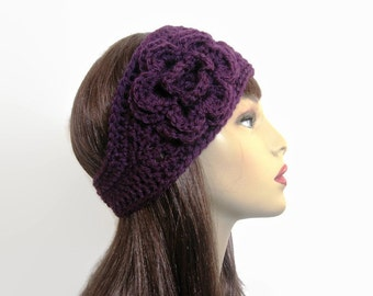 Purple Crochet Headband with Flower Plum Head Band Purple knit Earwarmer Head Band Purple Crochet Earwarmer with Flower  Eggplant Ear Warmer
