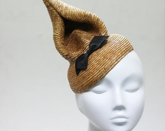 The Harlie Hat - Honey Cone Hat w/ Dinky Bow - Millinery Spectacle