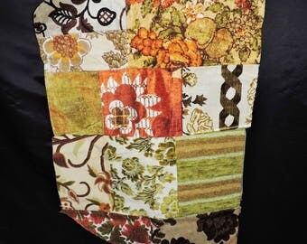 Vtg 70s Upholstry Fabric Squares Orange Brown Yellow Green Floral Stitched Together Wall Hanging Rug Retro