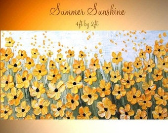 "2DAY SALE XL Oil Yellow floral painting""Summer Sunshine"" Abstract Original Modern 48"" palette knife impasto oil painting by Nicolette Vaugha"