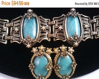 Now On Sale 1950's Green & Faux Pearl Chunky Wide Bracelet Earring Set - Vintage Demi Parure - Victorian Inspired Jewelry - Mid Century