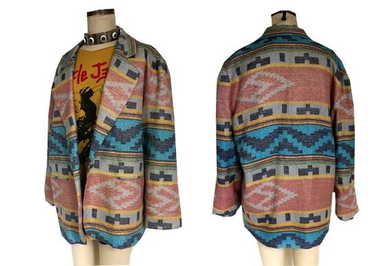 BILL BLASS Blassport Tribal Pastel Aztec Print Oversized Boxy Blazer jacket