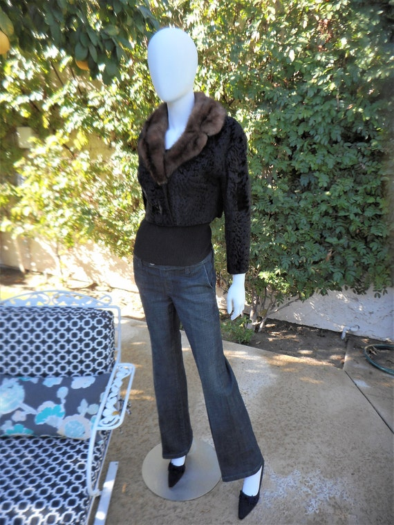 Vintage 1950's Irving Goldstein Black Broadtail Lamb Bolero Jacket with Brown Mink Collar - Size Small