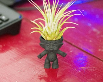 Troll planter, mini planter, air plant planter, fun indoor air plant stand, desk accessory, airplant holder, trolls planter