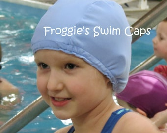 Lycra SWiM CaP - CORNFLOWER BLUE - Sizes - Baby , Child , Adult , XL - Made from Spandex / Swimsuit Swimming Fabric -by Froggie's Swim Caps