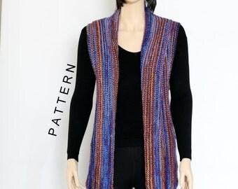 Knit Vest Pattern Woman's Vest Pattern knit Vest shrug pattern pdf