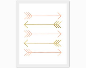 peach and gold arrows, print, baby girl's nursery art, children's room, watercolor, love, make it a set of 3, mix and match, customize