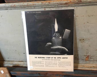 1958 Original Advertising Story of the Zippo Lighter Ad