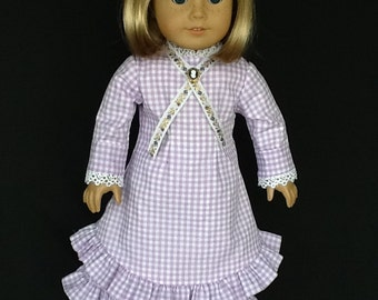 Mary and Laura Ingalls dress and underskirt for 18 inch dolls. Fits American Girl Dolls. Purple and white gingham.
