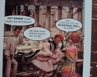 Unused Postcard 1990 Nostalgic Barbie World Traveler
