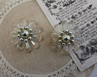 Vintage Clip On Earrings - Clear - Floral