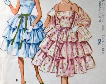 McCall's Pattern 5293 size 9 Camisole Dress with Three Ruffle Skirt 1950's