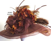 VICTORIAN HAT in Brown Organza Accented with Brown Ostrich Plumes, Goose Biot Feathers and Flowers Wedding Bridal Church Derby