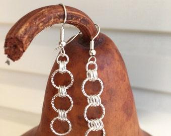 Silver Three Ring  Earrings