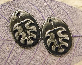 Winter Leaf - Handmade Rustic Pewter Jewelry Components - Boho Jewelry  - Leaf Charms