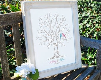 Thumbprint Wedding Tree Guestbook Alternative, Anniversary or Wedding Signature Tree, 50-200 Guests, Gallery Wrapped Canvas or Poster