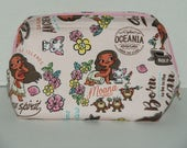 "Wire Frame Zipper Pouch With Pocket / Padded Cosmetic Bag Made with Japanese Cotton Oxford Fabric ""Moana"" Pink Size: Medium"