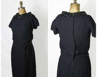 1950s Black Sequin Cocktail Dress