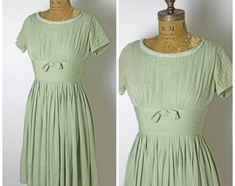 1950s Sage Green Cotton Dress with Bow